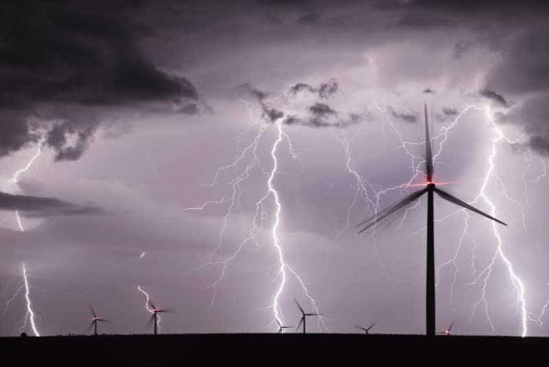 Turbines in hail storm